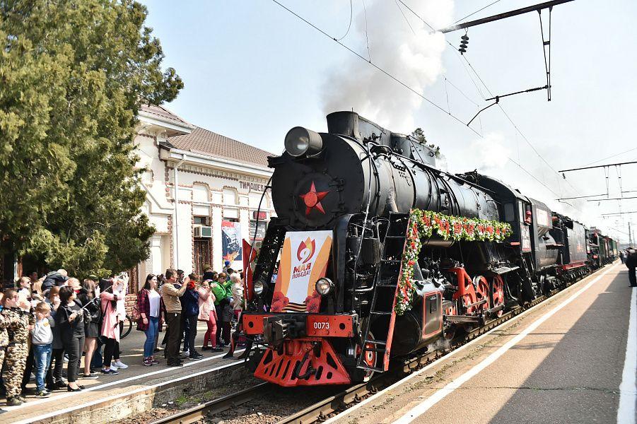 Накраснодарский вокзал прибыл ретропоезд времен ВОВ